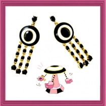 Dazzling Spinning Swing Earring - Black