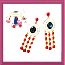 Dazzling Spinning Swing Earring - Red